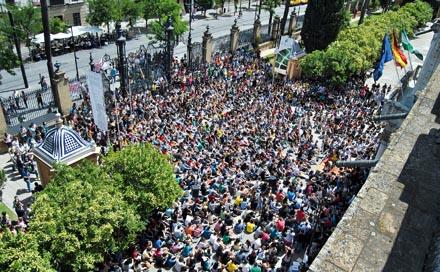 Asamblea estudiantil el pasado 22 de mayo en la Universidad de Sevilla. Foto. Contrafoto21
